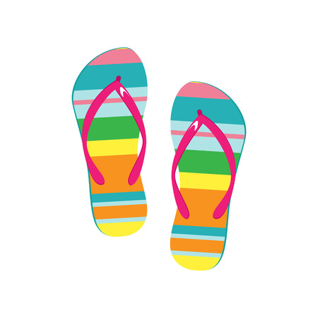 flip flops on the beach: Raster illustration pair of colorful flip flops. Beach slippers icon Stock Photo