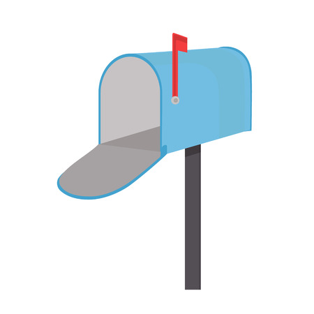 mail icon: Raster illustration empty blue mailbox. Mail box icon with red flag flat design Stock Photo