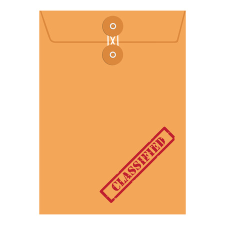 classified: Raster illustration orange paper envelope sealed with string with red grunge rubber stamp with text classified