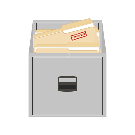 file folders: Raster illustration opened card catalog with file folders. Office furniture. Metal filing cabinet. Top secret Stock Photo