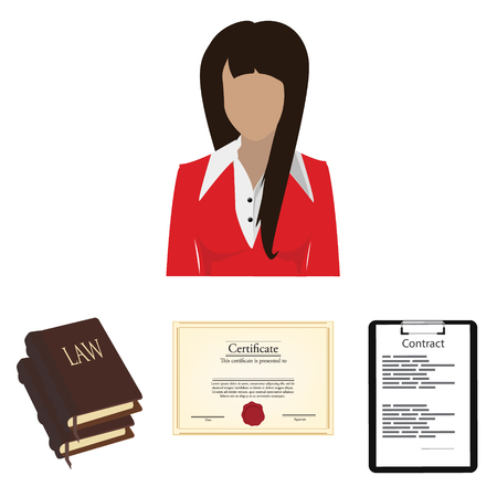 prosecutor: Raster illustration lawyer consulting service concept. Lawyer, law book, certificate and contract on black clipboard