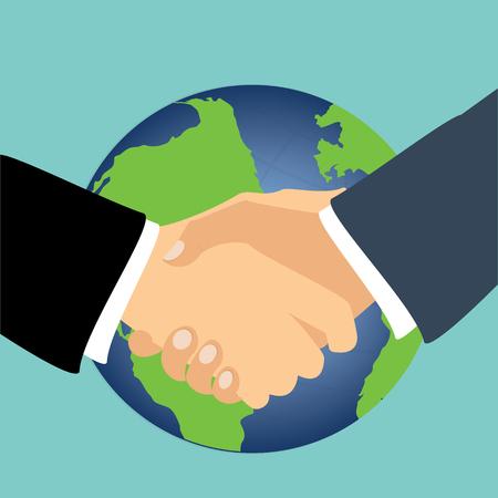 Raster handshake illustration. Background for business and finance. International partnership symbol, concept
