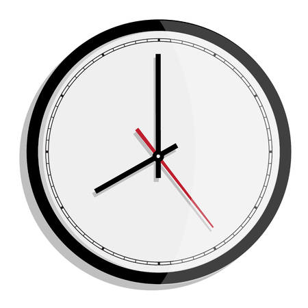 oclock: Raster simple classic black and white round wall clock isolated on white. Clock on wall shows eight oclock Stock Photo
