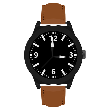 brown leather: Raster illustration classic analog men wrist watch with brown leather band. Stock Photo