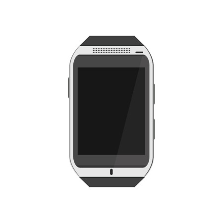 tehnology: Raster illustration realistic white smartwatch. Wearable tehnology. Smartwatch flat icon