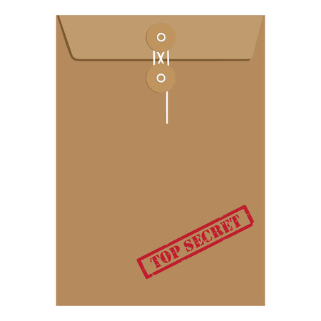 top secret: Brown long postal envelope template with red rubber stamp top secret raster illustration. Envelope sealed with string.