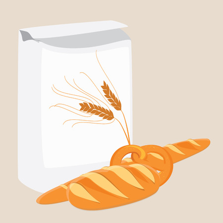 french countryside: Loaf of bread, pretzel, french baguette and flour package raster illustration. White, tasty bread. Different kinds of bread raster icon