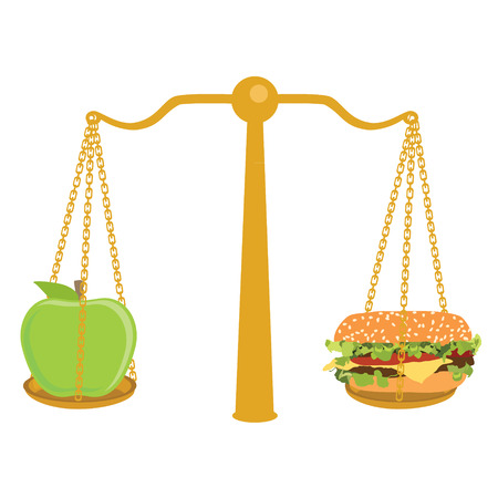good judgment: Raster illustration hamburger and apple on scales. Diet healthy food concept