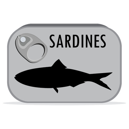 pilchard: Packaging collection. Raster illustration can of sardines. Canned food