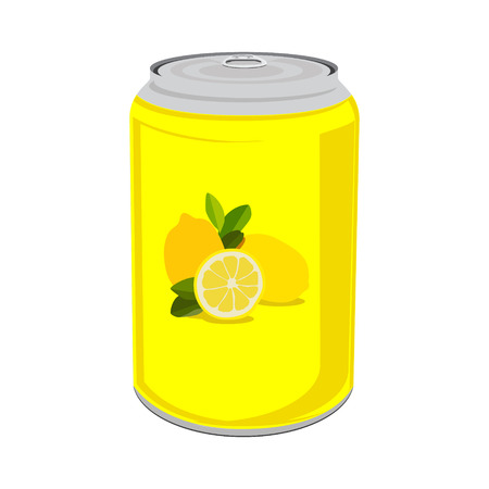 drink can: Raster illustration beverage can with lemons. Lemon drink can icon. Yellow tin can isolated on white background. Lemon fruit juice
