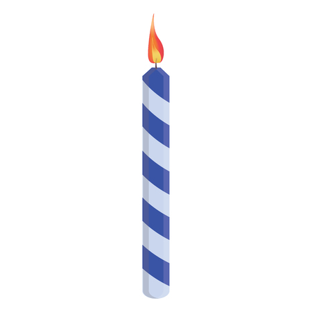 blue flame: Blue striped birthday candle with flame raster illustration. Place on cake