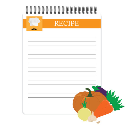 recipe card: Recipe card. Kitchen note blank template raster illustration. Cooking notepad with vegetables