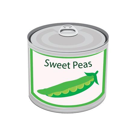 tin: Raster illustration canned food. Sweet peas.  Peapod. Metal tin can Stock Photo