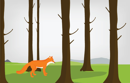 blueberry bushes: Raster illustration cloudy autumn forest landscape and red cute fox. Forest background Stock Photo