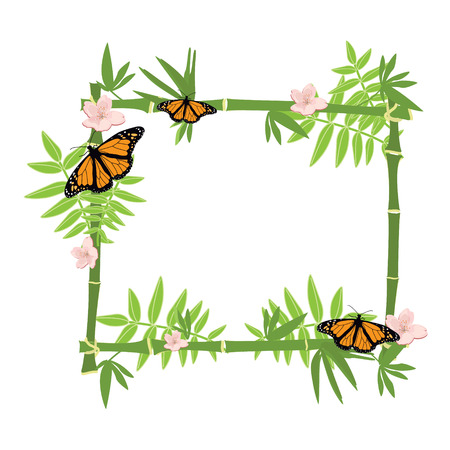 bamboo border: Raster illustration tropical island frame, border, poster with exotic flowers, butterflies and plants. Bamboo frame. Monarch butterfly