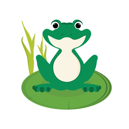 Raster illustration green, cute little frog sitting on water lily leaf