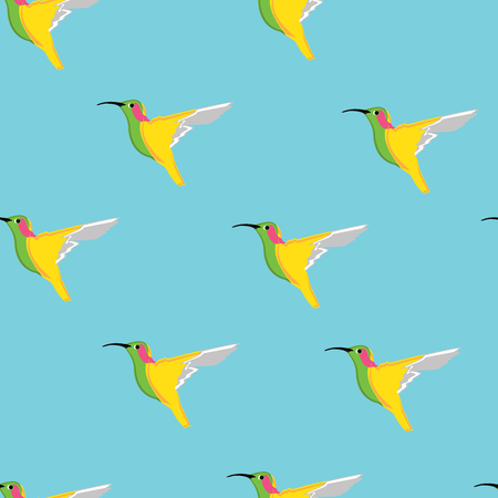 humming: Raster illustration seamless pattern with flying humming birds on blue background