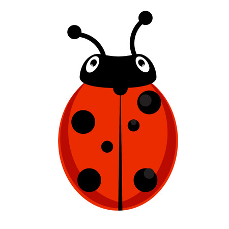 Raster illustration insect ladybird. Cute ladybug cartoon icon flat design. Stock Photo