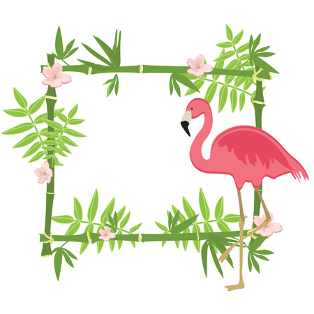 bamboo border: Raster illustration tropical island frame, border, poster with exotic flowers, plants and birds. Bamboo frame. Pink flamingo