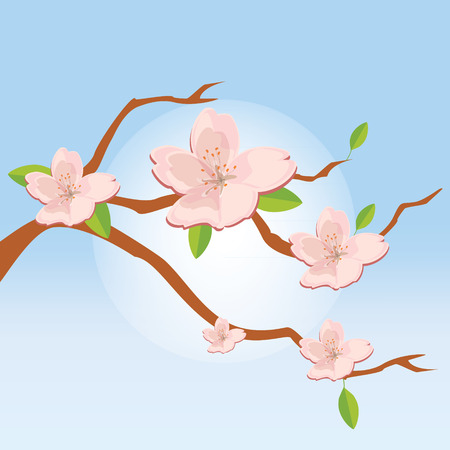 morning sky: Raster illustration nature background with blossom branch of pink sakura flowers in the blue morning sky. Japanese cherry blossom