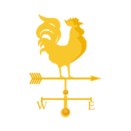 weathervane: Raster illustration rooster weather vane. Golden rooster, cock. Weather vane symbol, icon