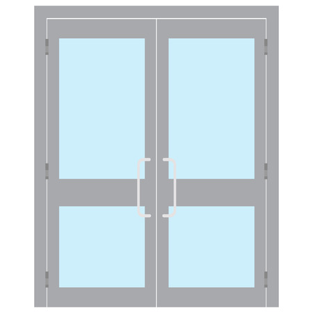 Raster illustration entrance door for office, home, store, mall, shop, supermarket isolated on white in flat style. Shop Front. Banco de Imagens