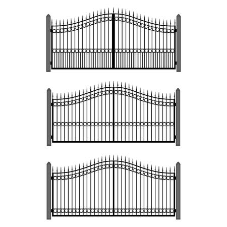 fencepost: Raster illustration wrought-iron fence. Set of old metal fence and gates. Gates silhouettes Stock Photo