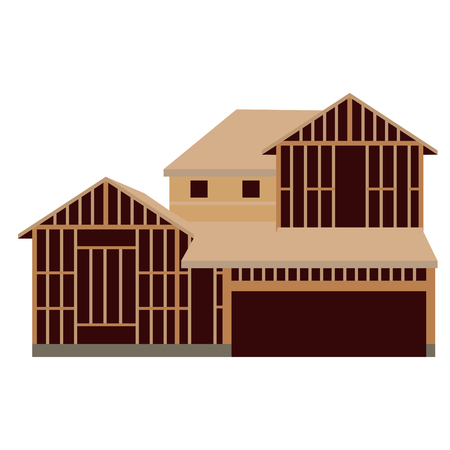 Raster illustration wooden unfinished house constuction. House icon
