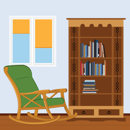reading room: Reading room with rocking chair, bookcase with books and window raster illustration. I love reading. Study room Stock Photo