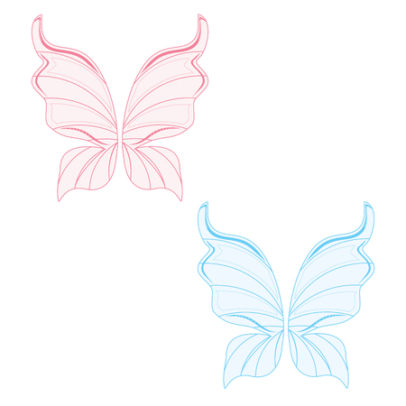 fairy wings: Raster illustration set of two transparent fairy wing blue and pink. Butterfly wings. Tooth fairy wings
