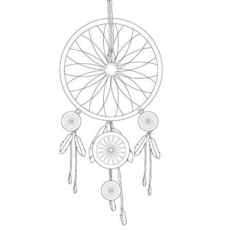 amulet: Raster illustration indian dream catcher outline drawing. Amulet