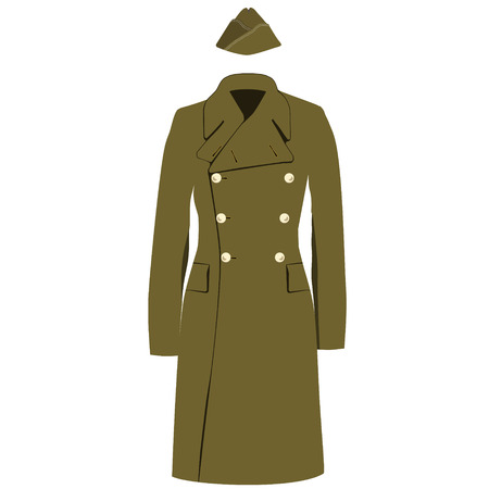 double breasted: Raster illustration green khaki military army winter, autumn coat or trench coat. Double breasted coat. Military forage cap. Aviation uniform cap Stock Photo
