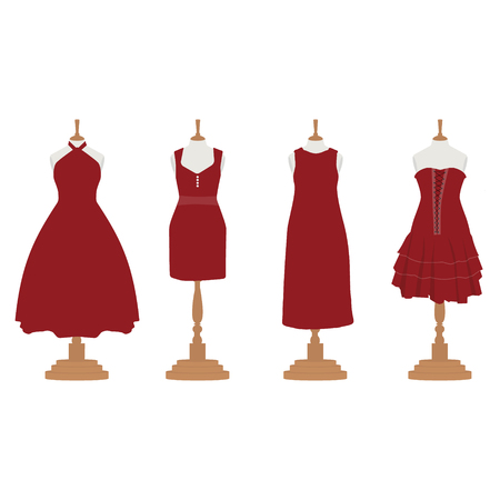 bordo: Raster illustration set of four red, bordo different design elegant cocktail and evening woman dresses on mannequin for boutique.