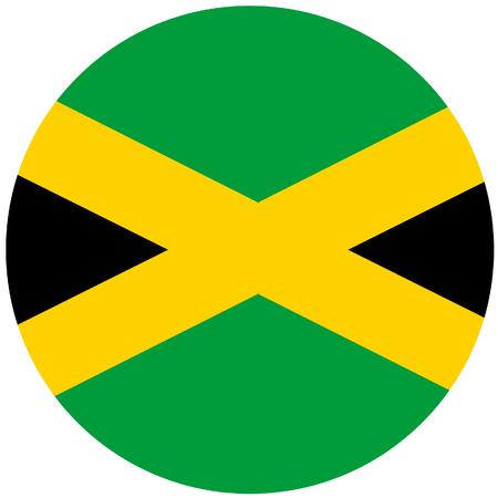 jamaican flag: Raster illustration of jamaica flag. Round national flag of jamaica. Jamaican flag