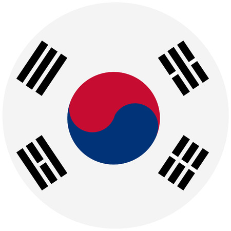dictatorship: Raster illustration of south korea flag. Round natianal flag of  south korea