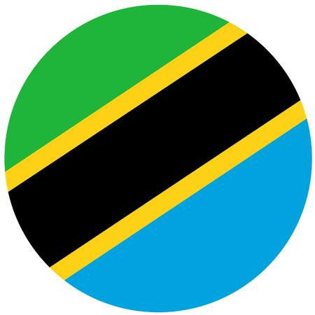Raster illustration of tanzania flag. Round natianal flag of  tanzania high detaiiled. Tanzanian flag