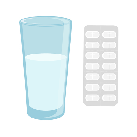 a tablet blister: Raster illustration glass of water and white pills blister. Tablet strip icon.  ills in a blister pack