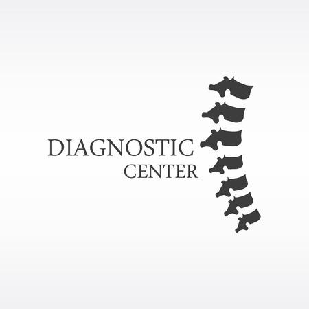 scoliosis: Raster illustration black silhouette spine diagnostic symbol, design, sign. Diagnostic center