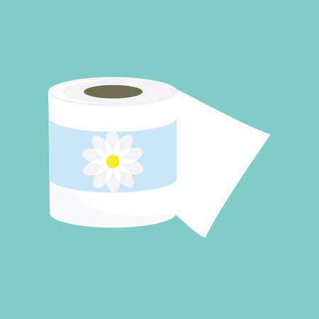 chamomile flower: Raster illustration toilet paper with chamomile flower symbol. Toilet paper flat icon