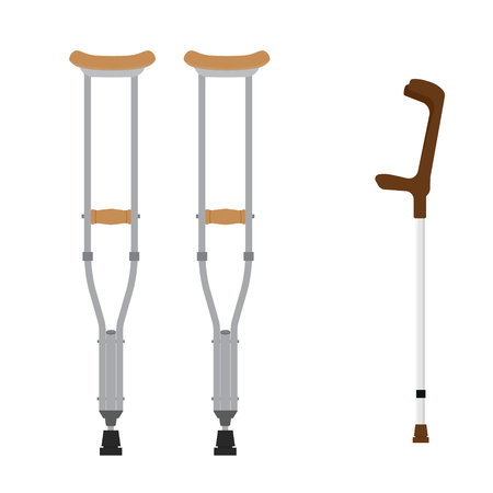 wooden leg: Crutches icon. Raster illustration of pair wooden crutches and medical walking sticks for rehabilitation of broken leg.