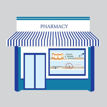 drugstore: Raster illustration pharmacy drugstore shop facade. Pharmacy building on blue background Stock Photo
