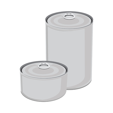 tincan: Raster illustration canned food. Tin can with ring pull. Packaging collection. Blank metal tincan Stock Photo