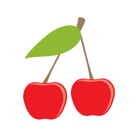 Raster illustration ripe red cherry berries with leave. Cherry flat raster icon