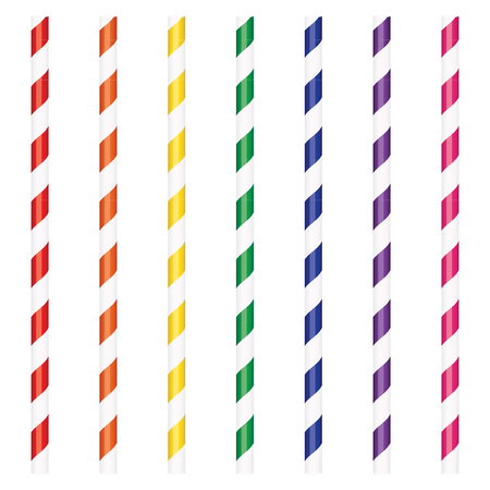 Raster illustration colorful cocktail drinking straws set