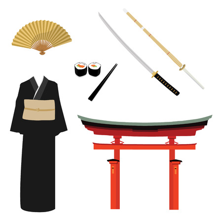 torii: Raster illustration japan symbols. Torii gate, kendo sword and bamboo battle sword. Traditional japanese martial art. Kimono, folding fan and sushi rolls
