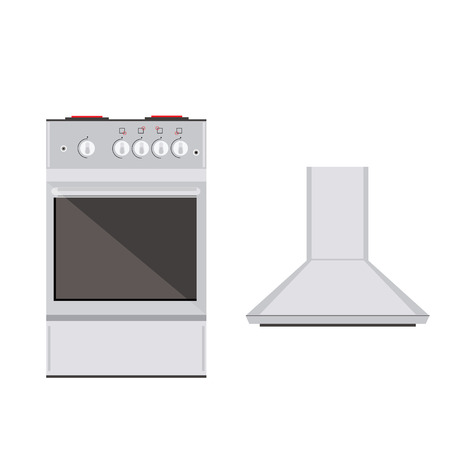 extractor: Raster illustration modern electric or gas stove and extractor kitchen hood. House appliance. Kitchen appliance