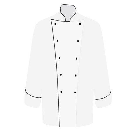white coat: Raster illustration white chef uniform jacket for men. Chef jacket with long sleeves for cooking Stock Photo