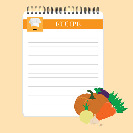 recipe card: Recipe card. Kitchen note blank template raster illustration. Cooking notepad on table with vegetables