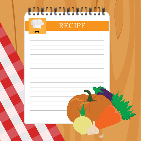 recipe card: Recipe card. Kitchen note blank template raster illustration. Cooking notepad on table with tablecloth and vegetables