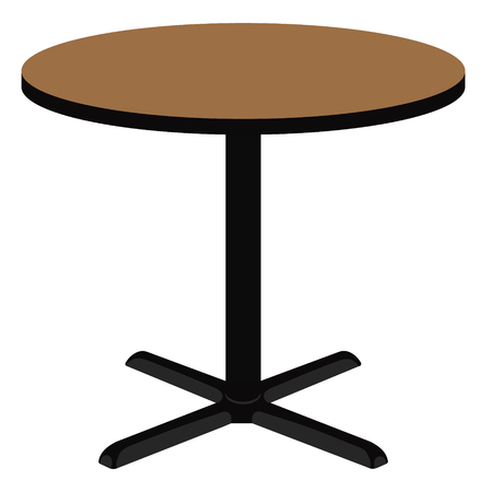round table: Raster illustration empty wooden round table. Wooden furniture.